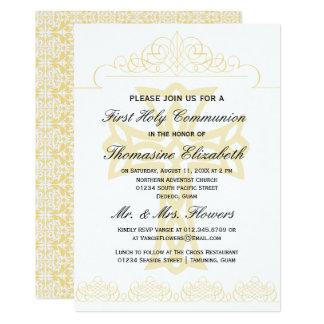 Amarele primeiros convites da cruz do comunhão