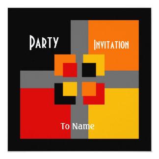 Amarelo alaranjado vermelho preto moderno de convites personalizados
