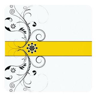 Amarelo amarelo elegante e casamento filigrana convite quadrado 13.35 x 13.35cm