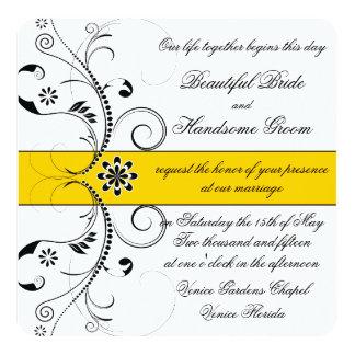 Amarelo amarelo elegante e casamento filigrana convite personalizado