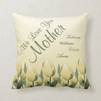 Amarelo assinado mamã do amor das tulipas do almofada