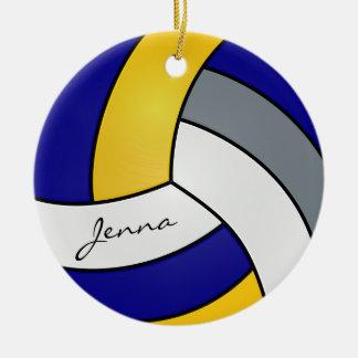 Amarelo, azul, branco & cinzas personalize o ornamento de cerâmica