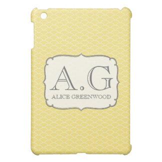 Amarelo & branco escala o mini cobrir do monograma capa iPad mini