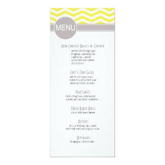Amarelo chique do menu | do comensal de Chevron Convites Personalizado