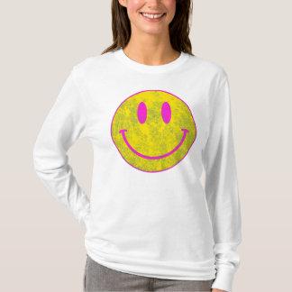 Amarelo cor-de-rosa do smiley face camiseta