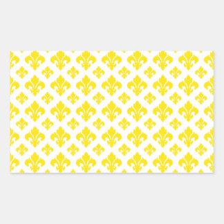 Amarelo da flor de lis 2 adesivos retangular