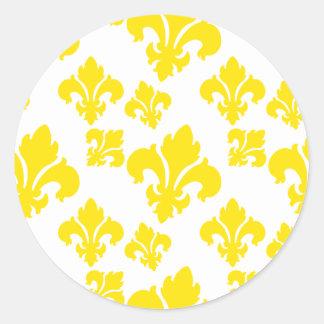 Amarelo da flor de lis 4 adesivo em formato redondo