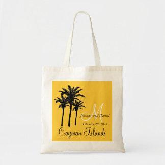 Amarelo das palmeiras das sacolas do casamento do  sacola tote budget