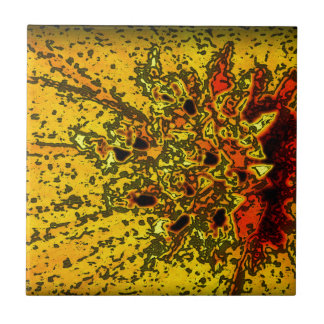 """Amarelo de """"ConchSalad"""" e arte bonitos das laranja Azulejo Quadrado Pequeno"""