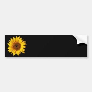 Amarelo do girassol no preto - flores personalizad adesivo para carro