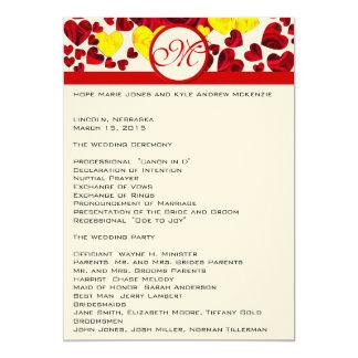 Amarelo e rosas vermelhas que Wedding o programa Convite 12.7 X 17.78cm