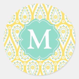 Amarelo elegante moderno Paisley do damasco Adesivo