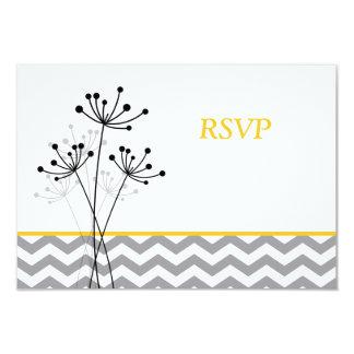 Amarelo, floral cinzento, Chevron que Wedding o Convite 8.89 X 12.7cm