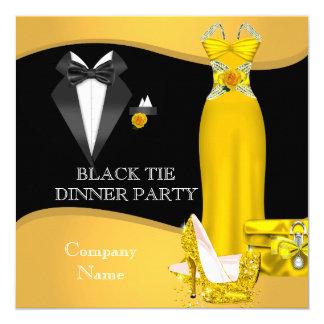 Amarelo formal incorporado do traje de cerimónia convite quadrado 13.35 x 13.35cm