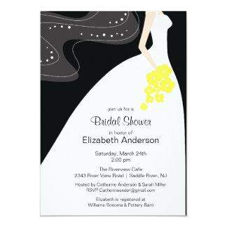 Amarelo gracioso do chá de panela da noiva convites