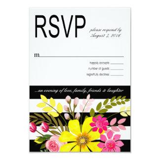 Amarelo listrado preto e branco das flores RSVP Convite 8.89 X 12.7cm