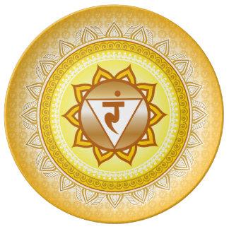 Amarelo/ouro Manipura, ó (núcleo) placa de Chakra Prato De Porcelana