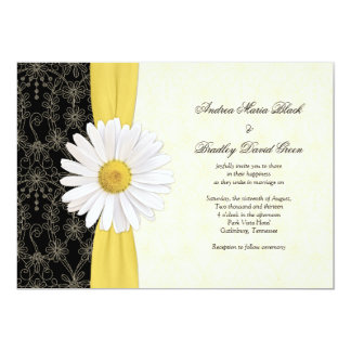 Amarelo preto da margarida, convite do casamento