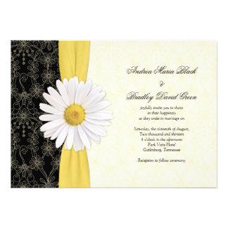 Amarelo preto da margarida convite do casamento d