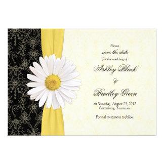 Amarelo preto da margarida economias do casamento convite personalizado