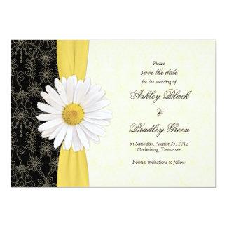 Amarelo preto da margarida, economias do casamento convite 11.30 x 15.87cm