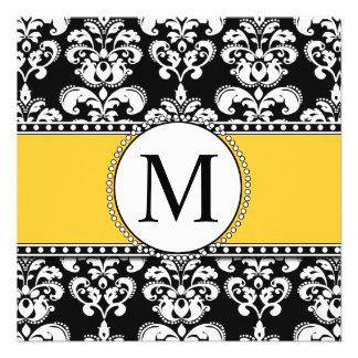 Amarelo preto dos convites do casamento do
