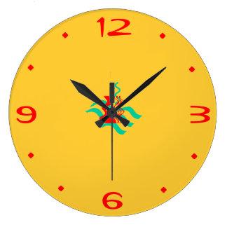 Amarelos lisos e o vermelho >Kitchen pulsos de dis Relógios Para Paredes