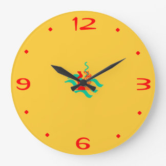 Amarelos lisos e o vermelho >Kitchen pulsos de dis Relógio Para Parede