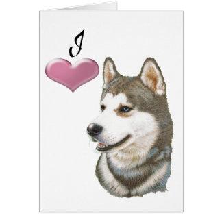 Ame a arte do cão do rouco Siberian com coração 3D
