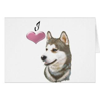 Ame a arte do cão do rouco Siberian com coração 3D Cartão De Nota
