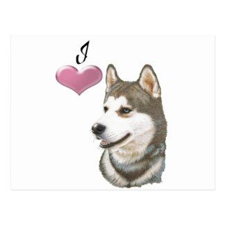 Ame a arte do cão do rouco Siberian com coração 3D Cartão Postal