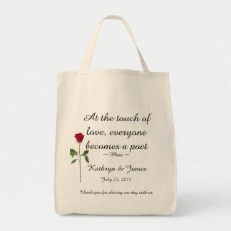 Ame a rosa vermelha de w das citações, Wedding as Sacola Tote De Mercado