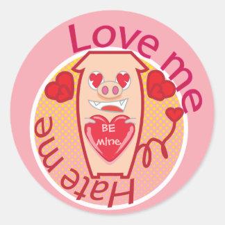Ame-me deiam-me etiqueta cor-de-rosa do porco adesivo