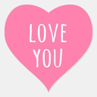 Ame-o coração cor-de-rosa do dia dos namorados adesivos de corações