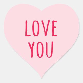 Ame-o coração cor-de-rosa do dia dos namorados adesivo em forma de coração