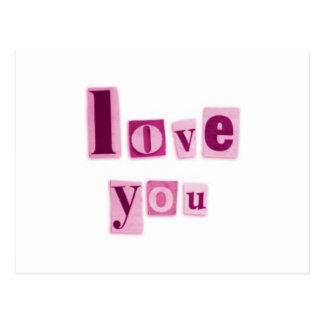 Ame-o no cartão cor-de-rosa cartão postal