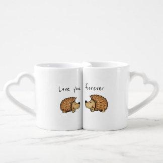 Ame-o para sempre - canecas do ouriço para pares