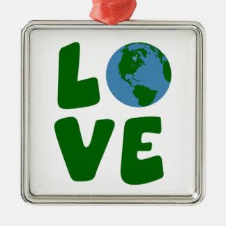 Ame o planeta da Mãe Terra Ornamento Quadrado Cor Prata