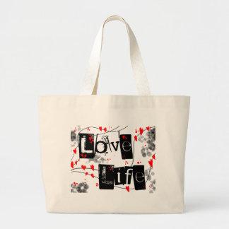 Ame o preto da vida, vermelho, corações, saco de sacola tote jumbo
