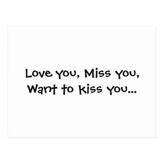 Ame-o, senhorita você, queira-o beijá-lo… cartão postal