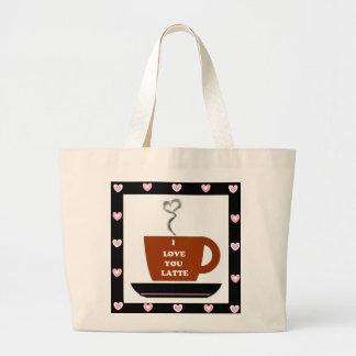 Ame-o um Latte - coração moldado Bolsa Para Compras