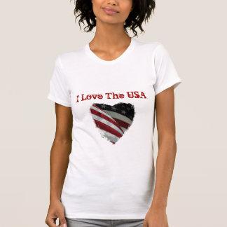 Ame os EUA, bandeira americana do coração Tshirt