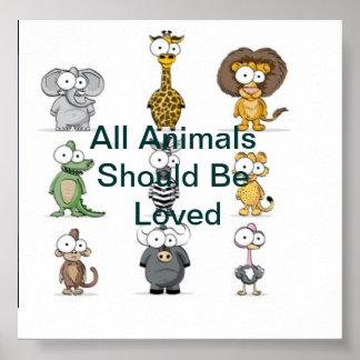 Ame todos os animais poster