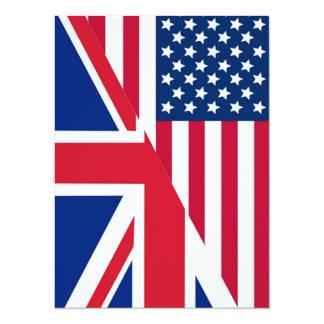Americano e bandeira de Union Jack Convite 13.97 X 19.05cm