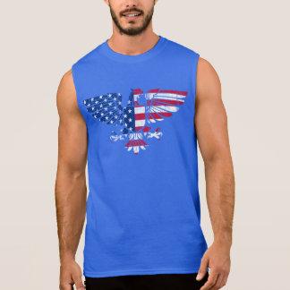 Americano Eagle e design da bandeira. Tshirt. sem  Camisas Sem Manga