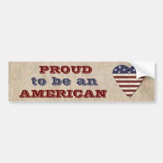 Americano patriótico orgulhoso com coração adesivo para carro