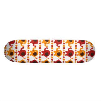 Amigos alaranjados vermelhos bonitos do elefante q shape de skate 19,7cm