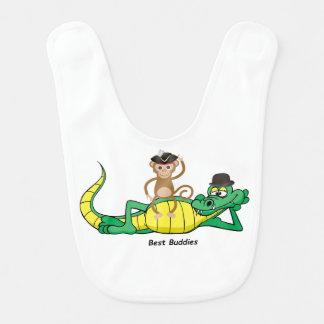 Amigos animais macaco e babador do bebê do jacaré