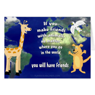 Amigos com animais cartão comemorativo