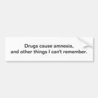 Amnésia da causa das drogas - autocolante no vidro adesivo para carro